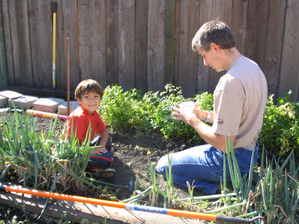 Image of Roy and son planting seeds in their garden.